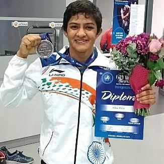 Ritu Phogat with silver medal