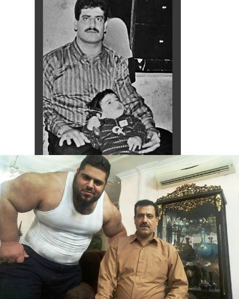Old and present photos of Sajad Gharibi and his father