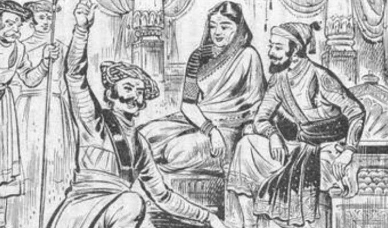Sketch of Tanaji Malusare with Shivaji