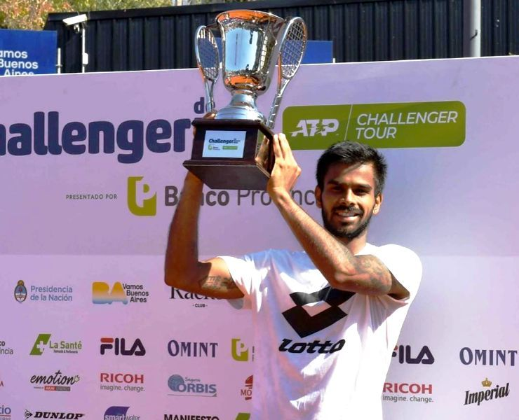 Sumit Nagal with his ATP Challenger Tour trophy