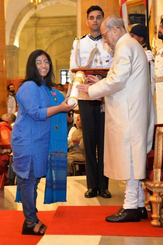 Sunitha Krishnan Receiving Padma Shri Award