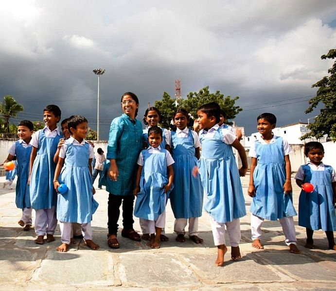 Sunitha Krishnan with Her School's Children