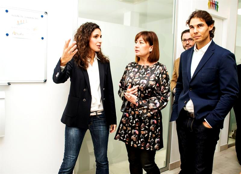 Xisca Perello with Rafael Nadal at the Rafa Nadal Foundation Office