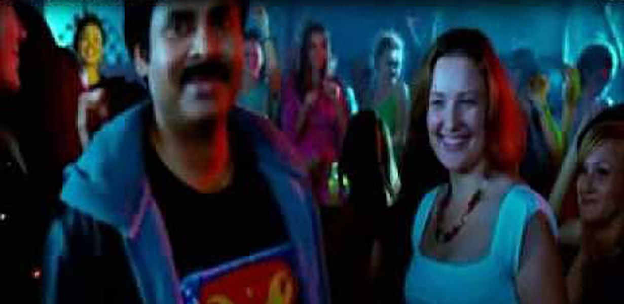 Anna Lezhneva and Pawan Kalyan in a scene from Teen Maar