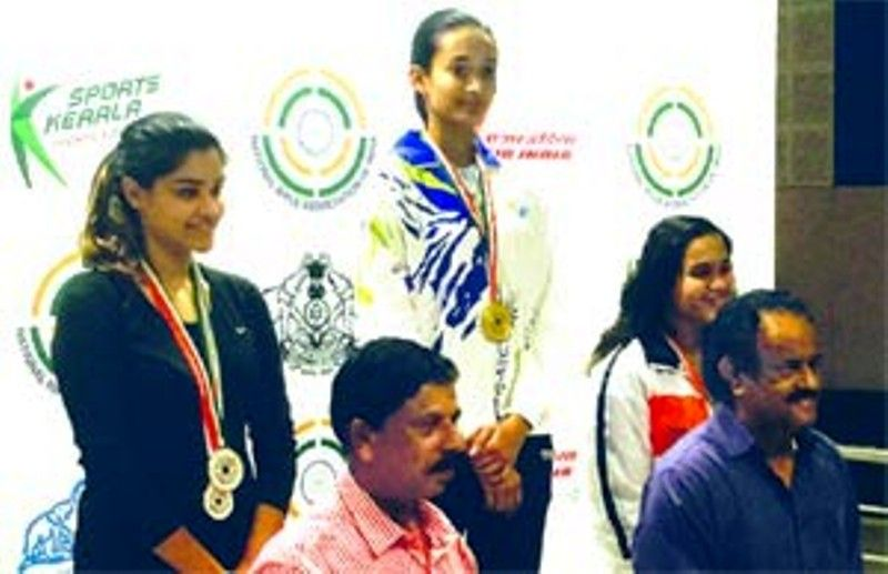 Chinki Yadav after winning the gold in the 61st National Shooting Championship, held in Thiruvananthapuram of Kerala