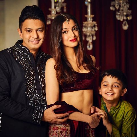 Divya Khosla Kumar with her husband and son
