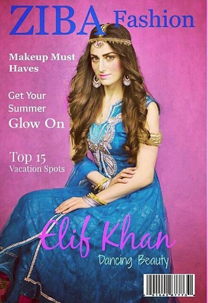 Elif Khan on the cover of Ziba Magazine