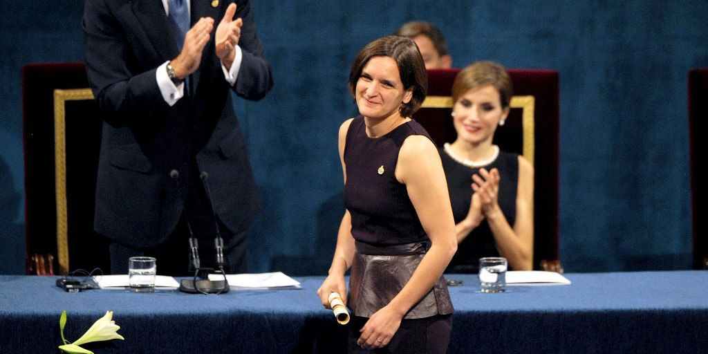 Esther Duflo being honoured with the Nobel Prize
