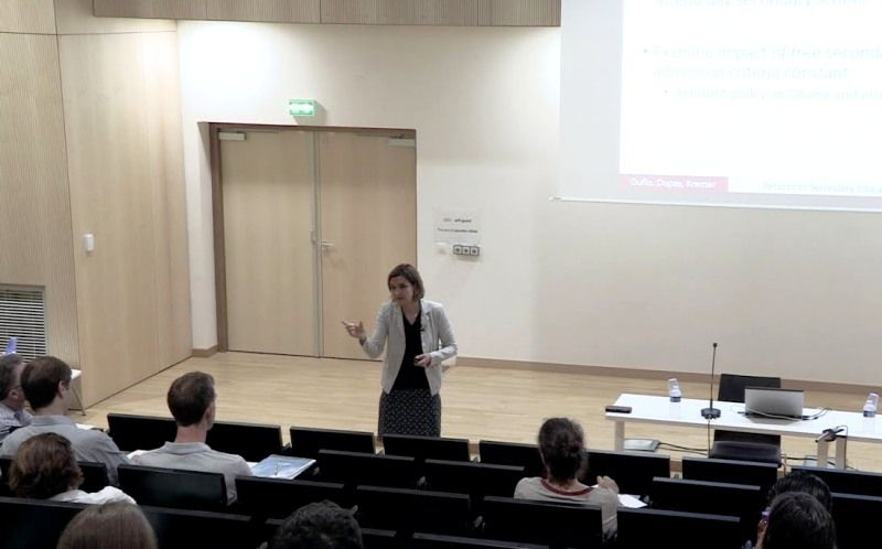 Esther Duflo during a lecture