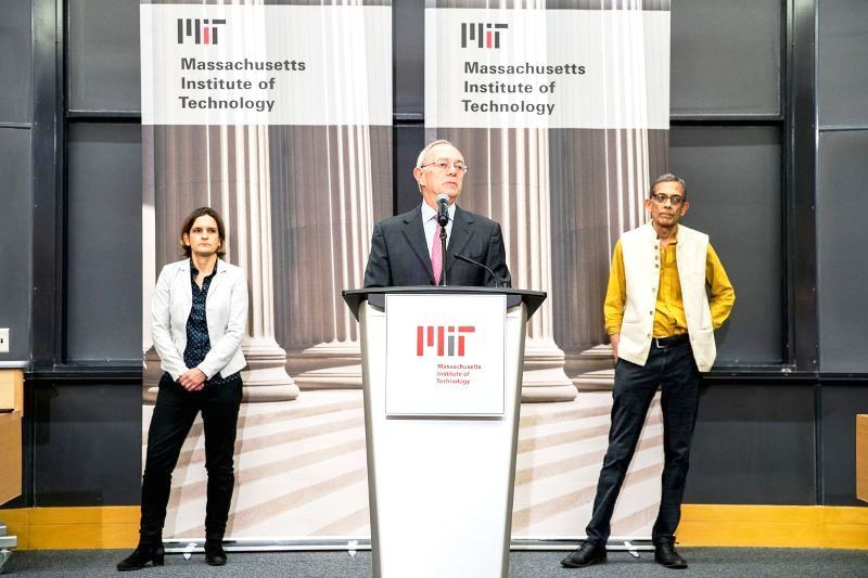 Esther Duflo with Abhijit Banerjee at MIT