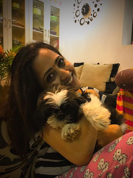 Lasya Manjunath with her dog