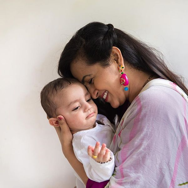 Lasya Manjunath with her son
