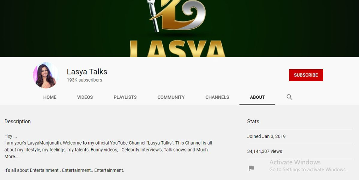 Lasya Talks- Lasya Manjunath's Youtube Channel