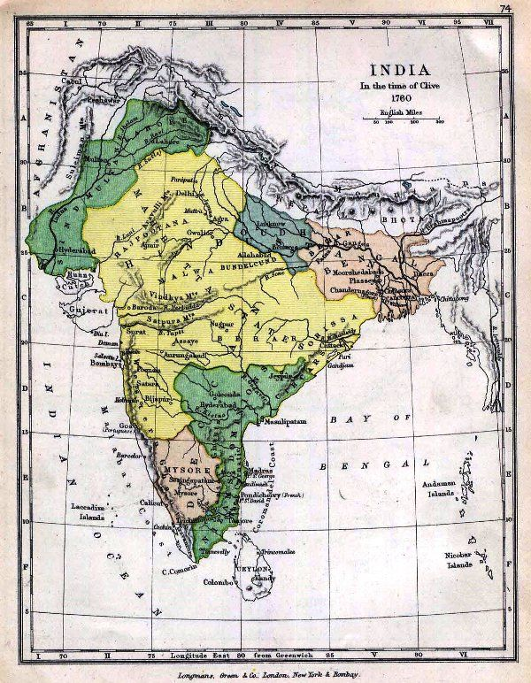 Map of India in 1760
