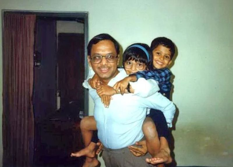 N. R. Narayana Murthy with Rohan and Akshata