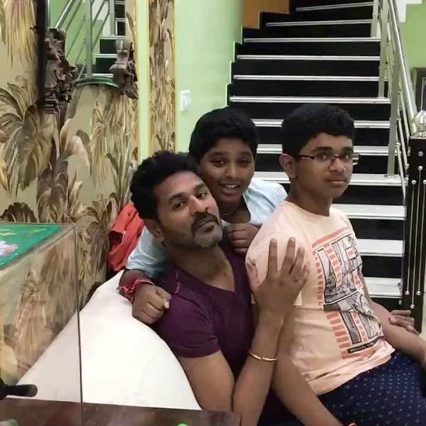 Prabhu Deva with His Sons- Rishi and Adhith