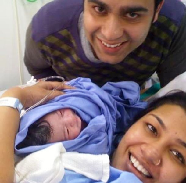 Purnota Dutta Bahl with Her Husband and Daughter, Eva