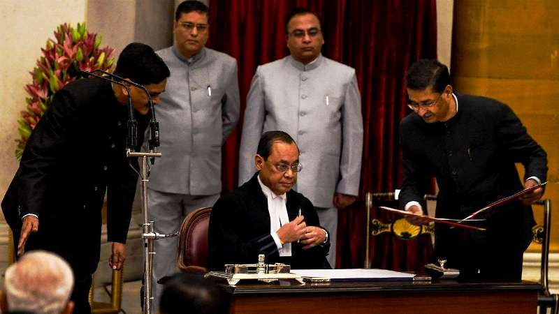Ranjan Gogoi being sworn-in as the 46th Chief Justice of India