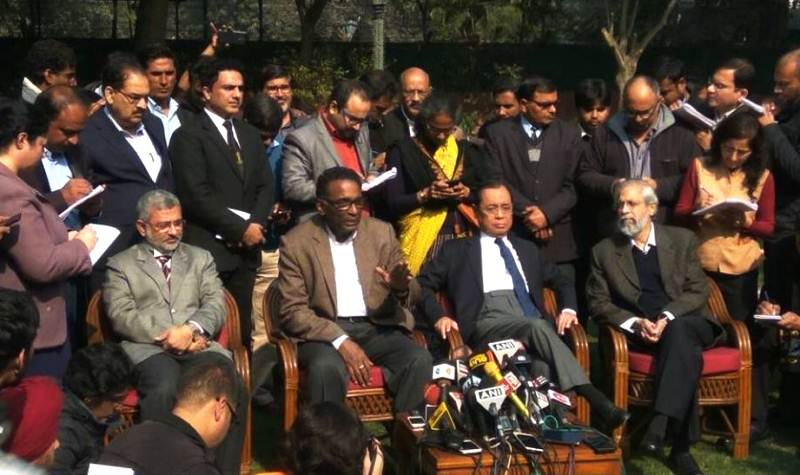 Ranjan Gogoi with 3 other judges of the Supreme Court of India during their press conference