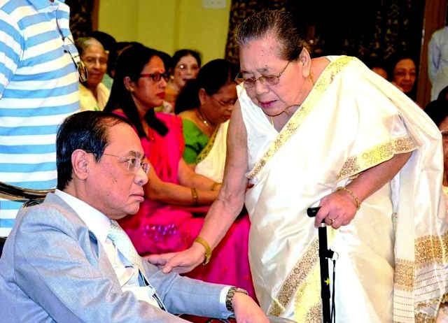 Ranjan Gogoi with his mother Shanti Gogoi