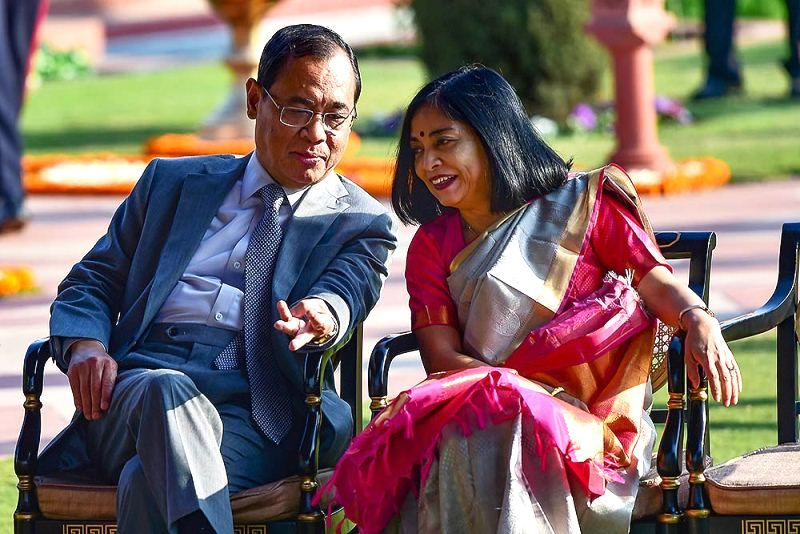 Ranjan Gogoi with his wife Rupanjali Gogoi