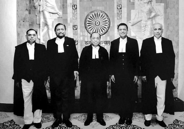 Ranjan Gogoi with the Supreme Court Bench that delivered the Ayodhya verdict