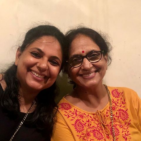Richa Anirudh with her mother
