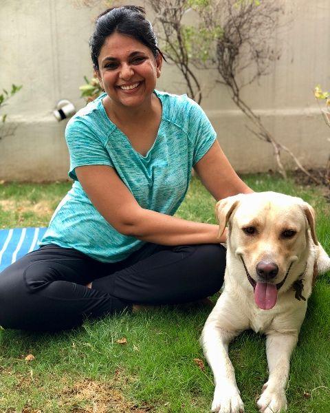 Richa Anirudh with her pet dog