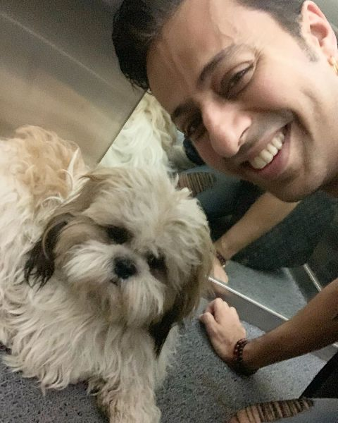 Salim Merchant with his pet dog, Cookie