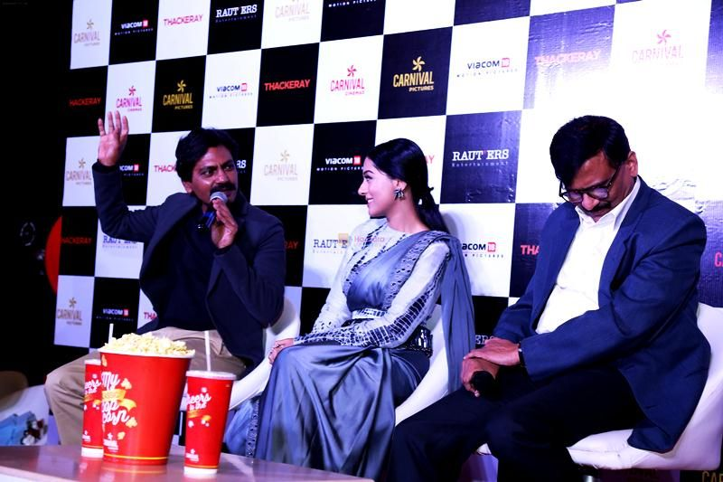 Sanjay Raut (right) with Amrita Rao (centre) and Nawazuddin Siddiqui (left)