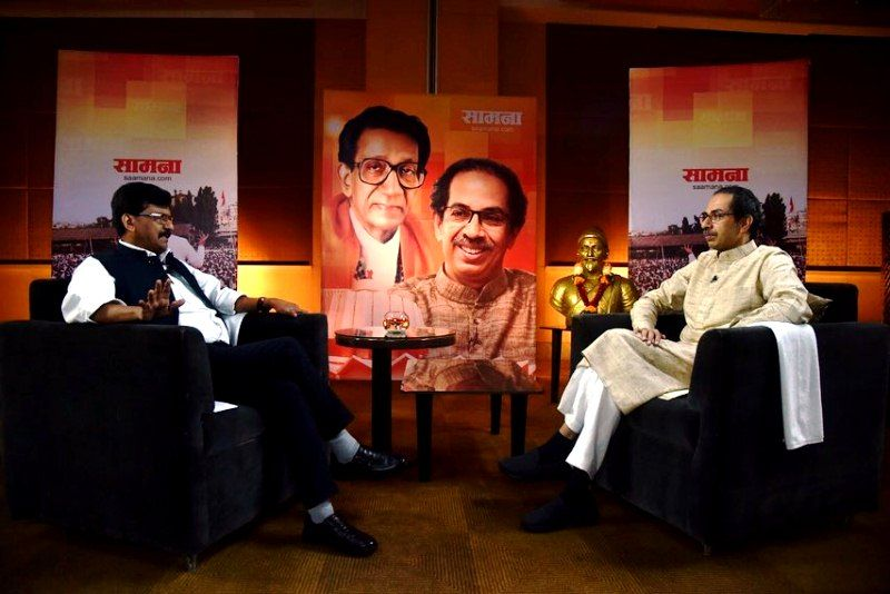 Sanjay Raut with Uddhav Thackeray during a Saamana interview