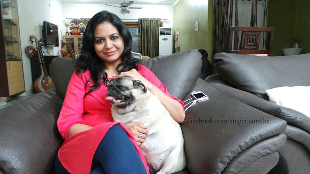 Sunitha Upadrashta with her dog snoopy
