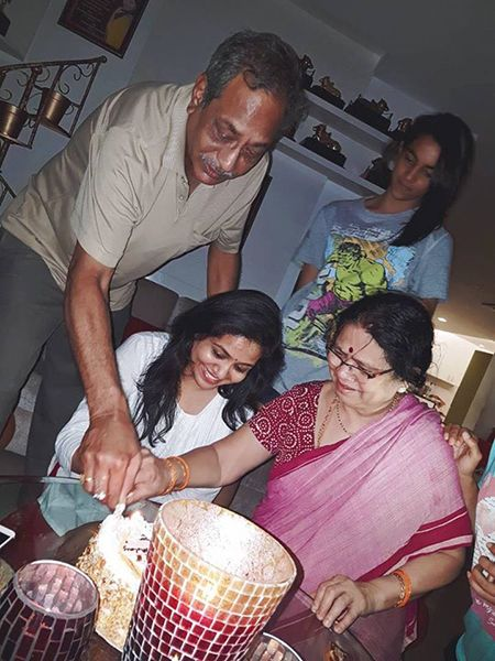 Sunitha Upadrashta with her parents
