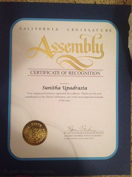 Sunitha Upadrashta's Certificate of Recognition by California Legislature Assembly