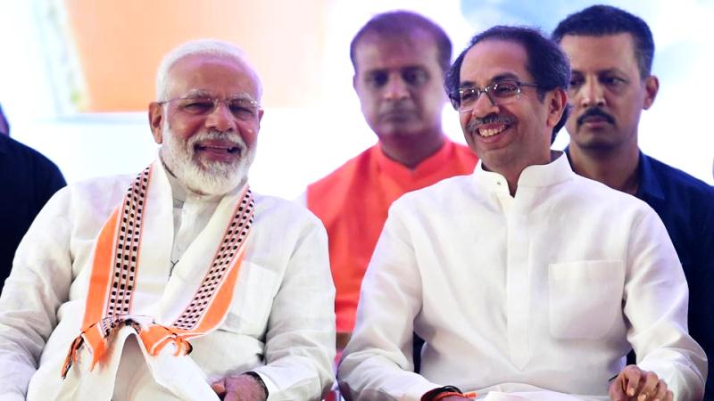 Uddhav Thackeray with Narendra Modi