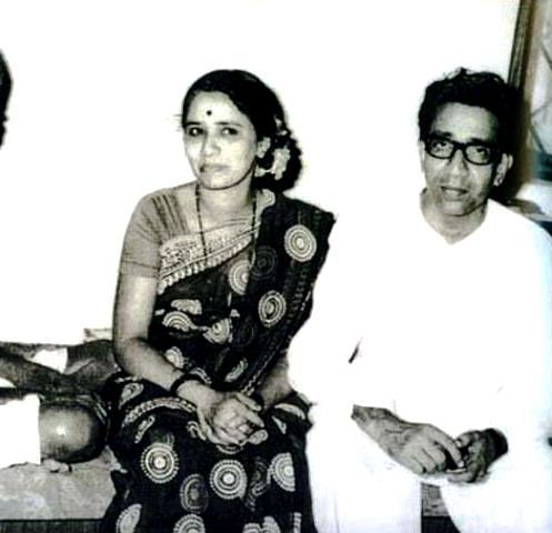 Uddhav Thackeray's father Bal Thackeray (right) and his mother Mina Thackeray (left)