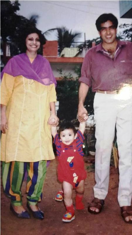 A Childhood Picture of Fahmaan Khan with His Parents