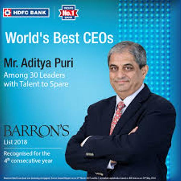 Aditya Puri as Barron's Top 30 Global CEOs
