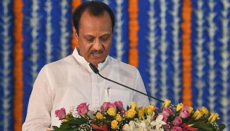 Ajit Pawar being sworn in as the Deputy Chief Minister of Maharashtra for the fourth time