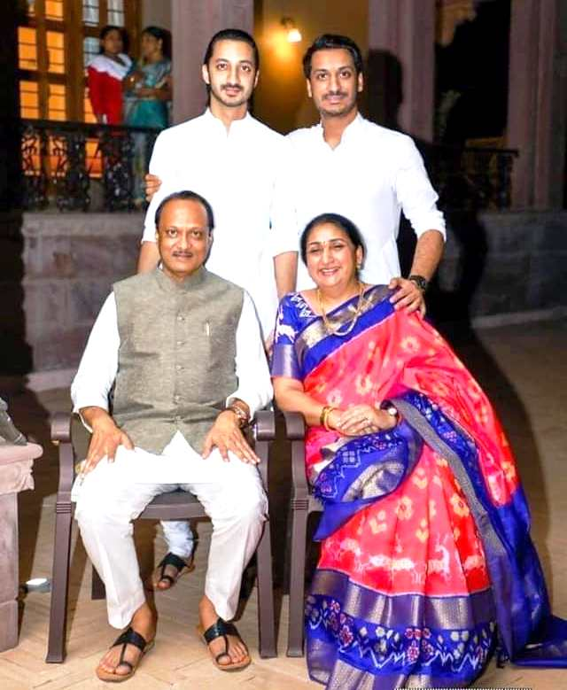 Ajit Pawar with his wife Sunetra Pawar, and his sons Jay Pawar (top left) and Parth Pawar (top right)