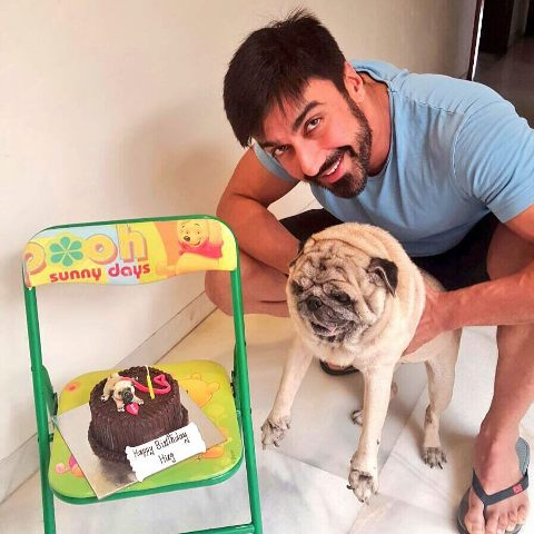 Ashish Chowdhry with his pet dog
