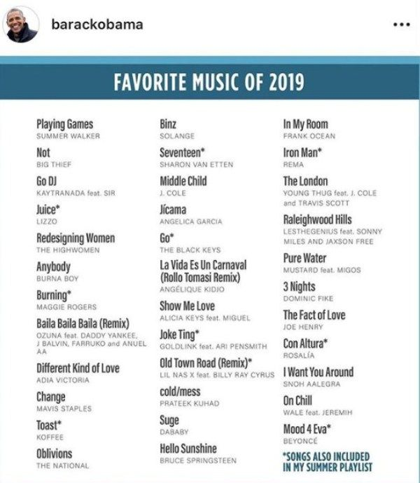 Barack Obama's Post on his Favourite Music