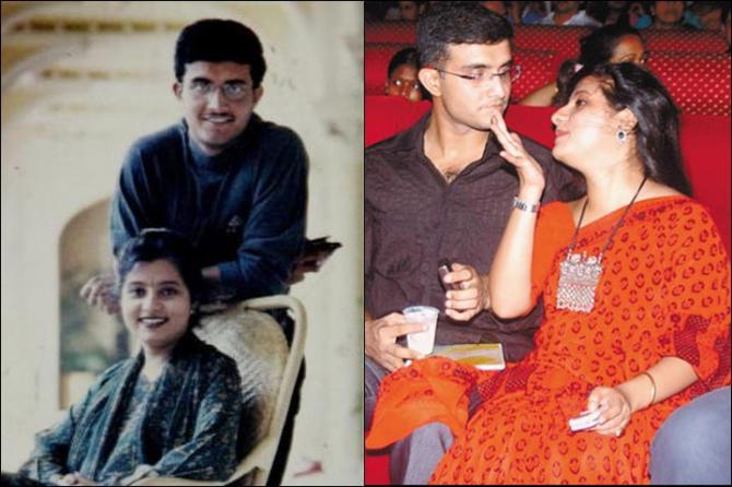 Dona Ganguly and Sourav Ganguly in their younger days