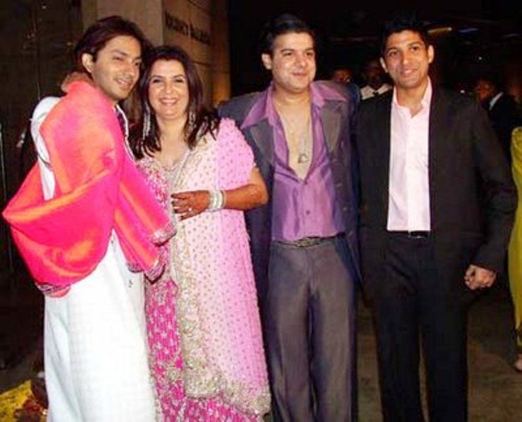 Farhan Akhtar with Farah, Sajid, and Shirish