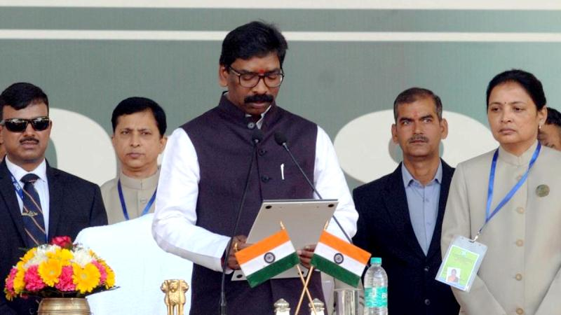 Hemant Soren taking oath as the Chief Minister of Jharkhand in 2019