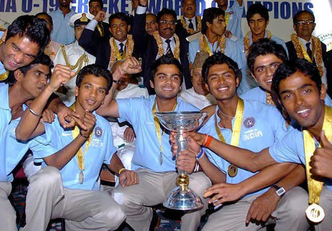 Manish Pandey (top right) with the India U-19 team after winning the 2008 U-19 World Cup