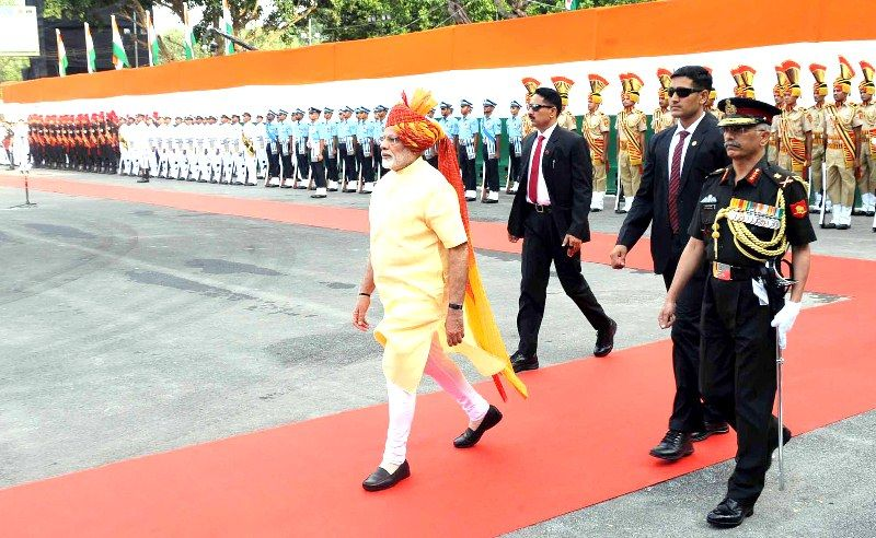 Manoj Mukund Naravane (extreme right) escorting Narendra Modi