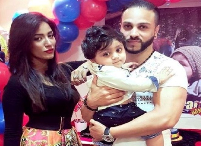 Mathira with her husband and her son