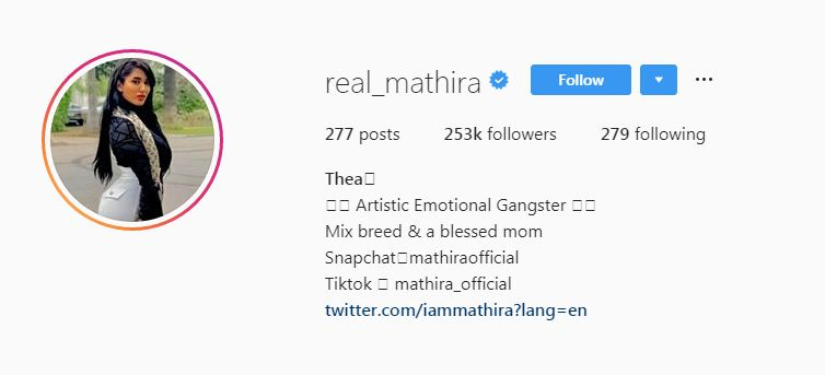 Mathira's Instagram Profile