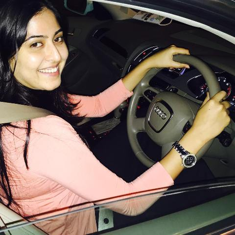 Monika Bhadoriya driving her car